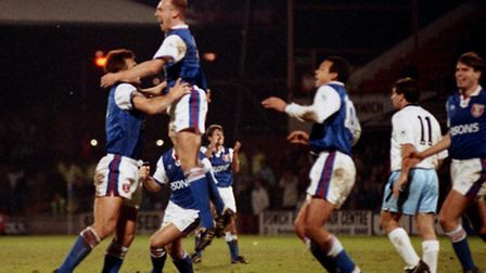 Gavin Johnson (centre) is congratulated after scoring against Manchester City in 1992