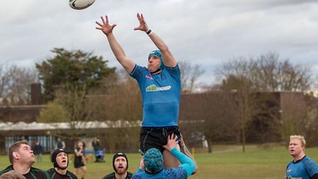 Tim Johnson collects the ball from a line-out for Woodbridge, against Newmarket.