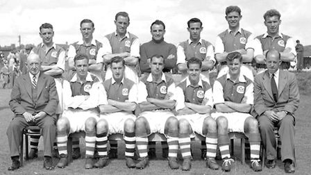 60 and 56 - The Ipswich team of 1953/54 (from the left back row) Billy Reed, Jim Feeney, Tom Garneys
