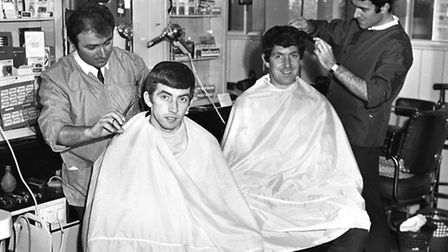 59 - Danny Hegan and Ken Hancock being made to look beautiful at Payne's Hairdressers in Ipswich, Ap