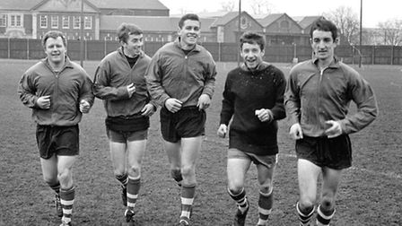 46 - The Ipswich Town forward line training in Feburary 1967. They are Joe Broadfoot, Danny Hegan, R