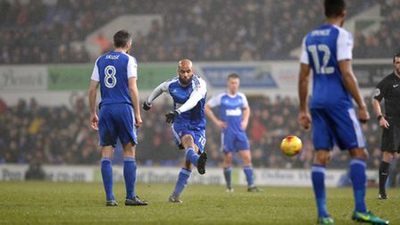 David McGoldrick fires a free-kick during the second half on Tuesday