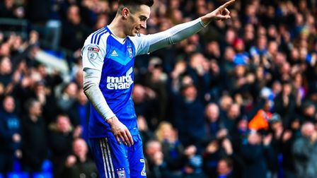 Tom Lawrence celebrates after putting the home side 2-1 up in the Ipswich Town v Reading (Sky Bet Ch