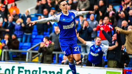 Tom Lawrence wheels away after putting Town 1-0 up in the Ipswich Town v Reading (Sky Bet Championsh