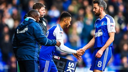 Cole Skuse is substituted by Grant Ward during the Ipswich Town v Reading (Sky Bet Championship) mat