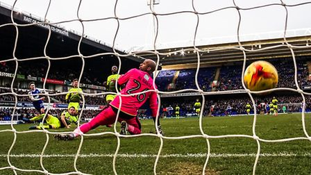 Tom Lawrence strike beats Reading keeper Ali Al-Habsi to take the home side 1-0 up in the Ipswich To