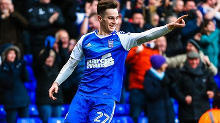 Tom Lawrence celebrates his second goal to take Town 2-1 up in the Ipswich Town v Reading (Sky Bet C
