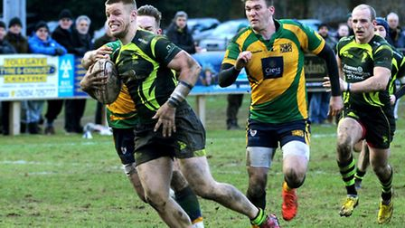 Sam Sterling breaks free to score one of his two tries for Bury against Henley last week. Captain To
