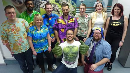 Some of the Fred. Olsen staff in Ipswich who took part in a charity 'Dress Down with a Twist Day'.