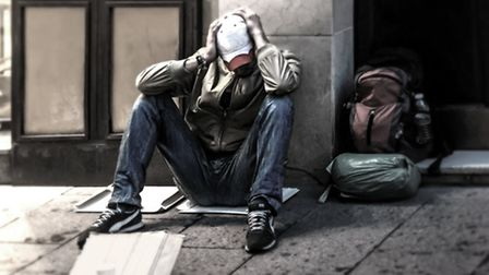 A general image of a homeless man in the street.