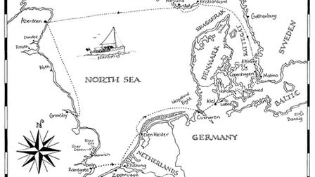 A map of Naromis's route, drawn by Suffolk artist Claudia Myatt