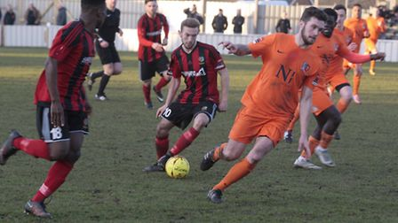 Action from Brightlingsea's recent 1-0 win over rivals Maldon & Tiptree. Regent entertain Aveley tod