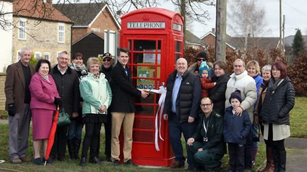 The official unveiling of the new phone box in West Row which houses the new defibrillator. Michael