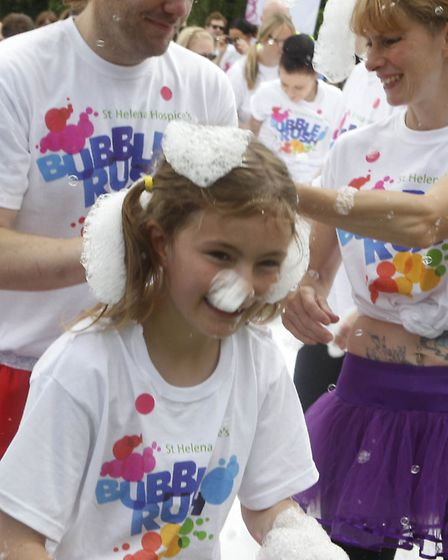 St Helena Hospice Bubble Rush at High Woods Country Park in 2016. Photo: Seana Hughes
