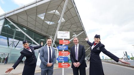 Celebrating the launch of British Airways flights from Stansted Airport in May last year.