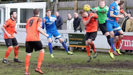 Action from Bury Town's clash with Norwich United at the weekend. A five-goal thriller, it finished