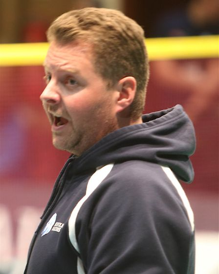Suffolk Saxons last game of NBL League season in Ipswich on Monday night 6/2/2017 Head coach Anthony