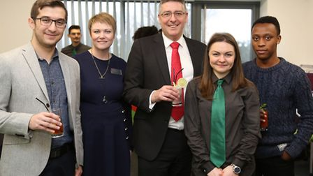 Matt Hutnell of Santander Universities UK, centre, with, from left, Asen Dimitrov, Claire Parry-Witc