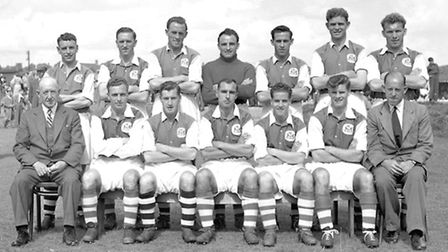 28 - The Ipswich team of 1953/54 (from the left back row) Billy Reed, Jim Feeney, Tom Garneys, Jack