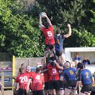 Colchester captain Liam Pickett makes another line out successful