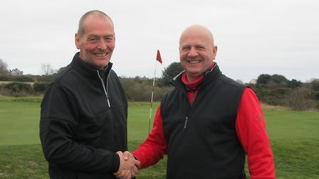 Alan White and Ian Benson of Stoke by Nayland who won the better ball competition in the Suffolk Win