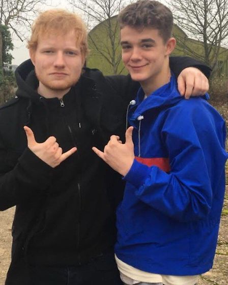 Ed Sheeran with Ipswich student Jack Reddington who appears ini the video for Castle on the Hill, pl