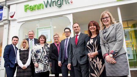Fenn Wright colleagues outside the firm's new Sudbury office, from left, Joseph Hall, who is based i