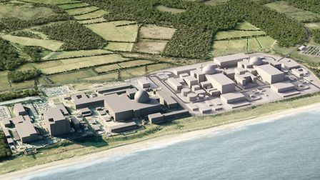 A computer generated image of how Sizewell C will look