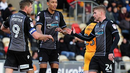 Kurtis Guthrie. flanked by team-mates Chris Porter and Craig Slater, netted a first-half equaliser f