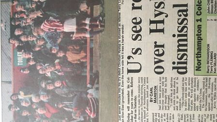 The headline in the 'East Anglian Daily Times' following Christian Hyslop's sending off in a 1-1 dra