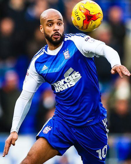 David McGoldrick keeps his eye on the ball during the Ipswich Town v Reading (Sky Bet Championship)