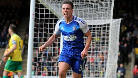 Jonas Knudsen celebrates scoring for Ipswich Town against Norwich City in the East Anglian Derby at