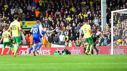 Jonas Knudsen gives Ipswich the lead with this second-half header at Norwich. Picture: Pagepix