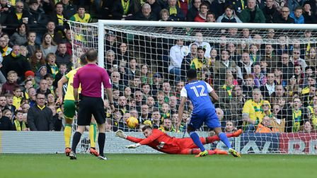 Bartosz Bialkowski makes a another good save at Carrow Road during the second half against Norwich.