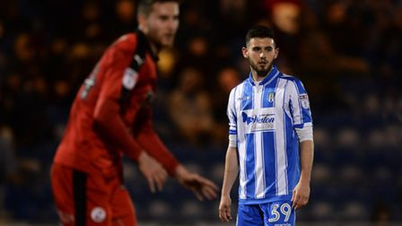 Charley Edge of Colchester United during the Sky Bet League 2 match between Colchester United and Cr