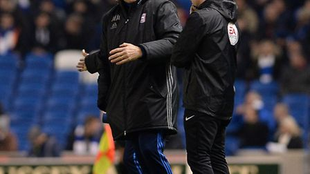 Mick McCarthy venting his frustrations with the fourth official at Brighton last night