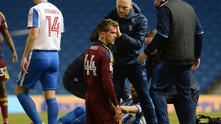 A bloodied Emyr Huws at Brighton