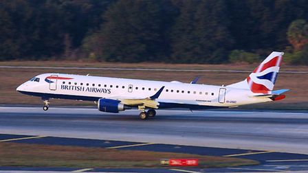 An Embraer 190 jet of the kind used by British Airways on flights from Stansted Airport.