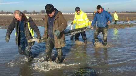 Members of the CITiZAN team stretcher one of the timbers discovered at Mersea Island ashore. Picture