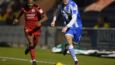 Brennan Dickenson looks to get past Crawley right-back Lewis Young during the U's 3-2 home defeat on