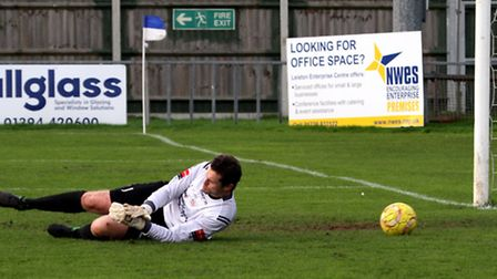 Needham Market keeper Danny Gay, who was left exposed by his team-mates in a heavy defeat at Billeri