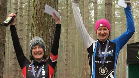 Laura Sampson (right) and Amy Cole on the podium at Shouldham Warren