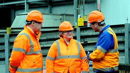 Environment minister Therese Coffey visiting the British Sugar factory in Bury St Edmunds and is sho