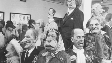 Puppets from the satirical ITV series Spitting Image on exhibition at Norwich Art School in 1985. Ph