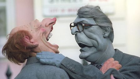 Spitting Image puppets of former Prime Minister John Major getting to grips with then Labour leader
