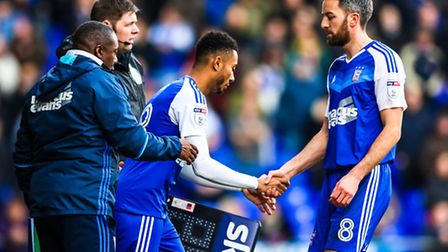 Grant Ward has replaced the injured Cole Skuse in the Ipswich Town team at Aston Villa. Photo: Steve