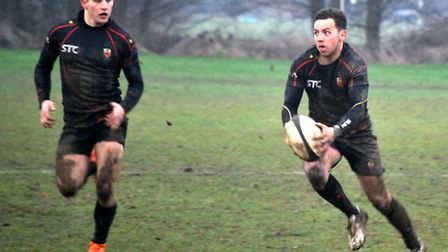 (L-R) James Crozier and Brett Cutbush with the ball for Colchester