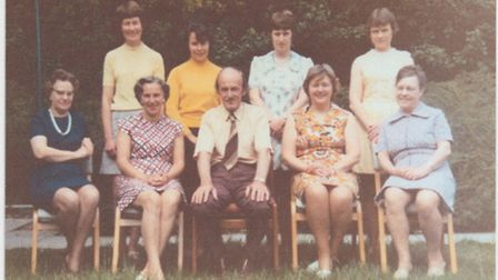 A staff photograph from Great Barton school in 1973