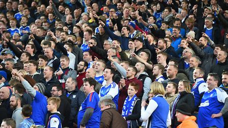 Ipswich Town fans at enjoy the derby game against Norwich at Carrow Road on February 26. Picture: Pa