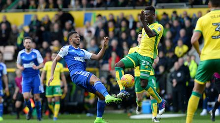 Grant Ward goes toe to toe with Alex Tettey during the second half in the East Anglian Derby on Febr